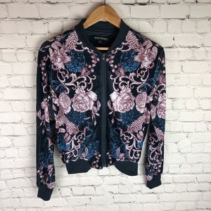 Size Small Velour Floral Bomber Jacket